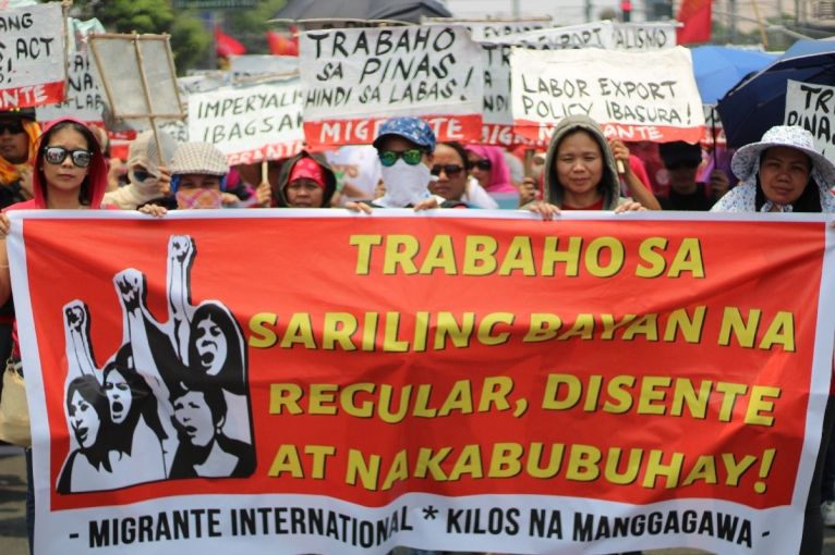 Women make up a large percentage of migrant workers forced to leace the country in order to find better work abroad with which to support their families. As migrants, however, many of them are exposed to human rights violations. Cases of murder and rape of Filipina overseas workers abound. Migrant workers' associaitons in the country led by Migrante called for more jobs to be created in the Philippines so Filipinas will no longer have to leave the country and work abroad.